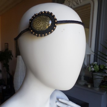 Headbead With Stone Gold-black VENDU!!!