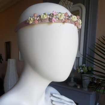 Headbead With Roses Pink Brodé VENDU!!!