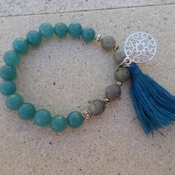 Bracelet Jadeit Labradorit Hematit - Tyrkys