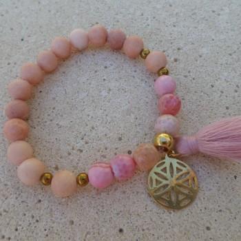Bracelet Jadeit Achat Corall Color