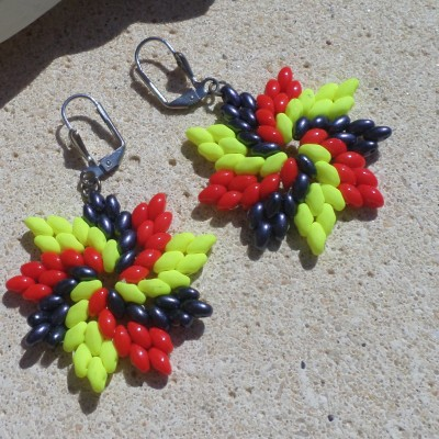Earring Flower Colored VENDU!!!
