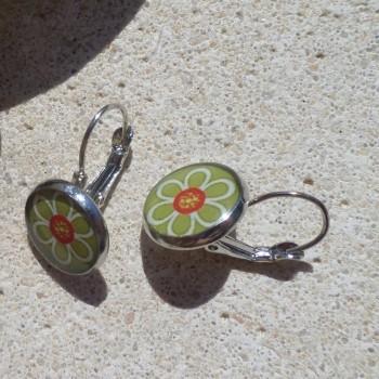 Earring Vintage With Green Flower VENDU!!!