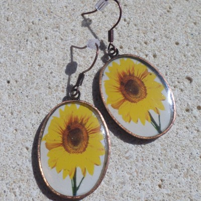 Earring Vintage With Sunflowers