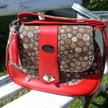 Bag Braune And Red With Flowers VENDU!!!