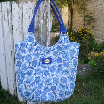 Bag With Blues Flowers