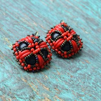 Earring Vintage Brodées Red VENDU!!!