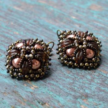 Earring Vintage Brodées Marrons VENDU!!!