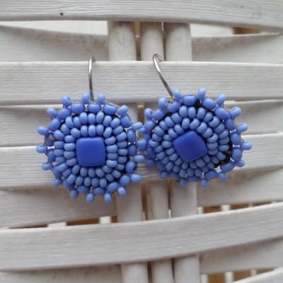 Boucles d'Oreilles Bleues-Violettes