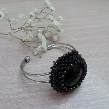 Bracelet Noir Brodé
